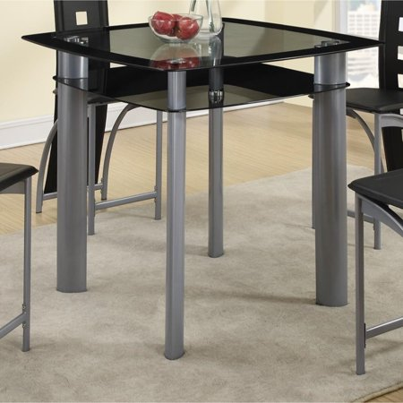 Benzara Square Glass Top Counter Height Dining Table With Metal Legs