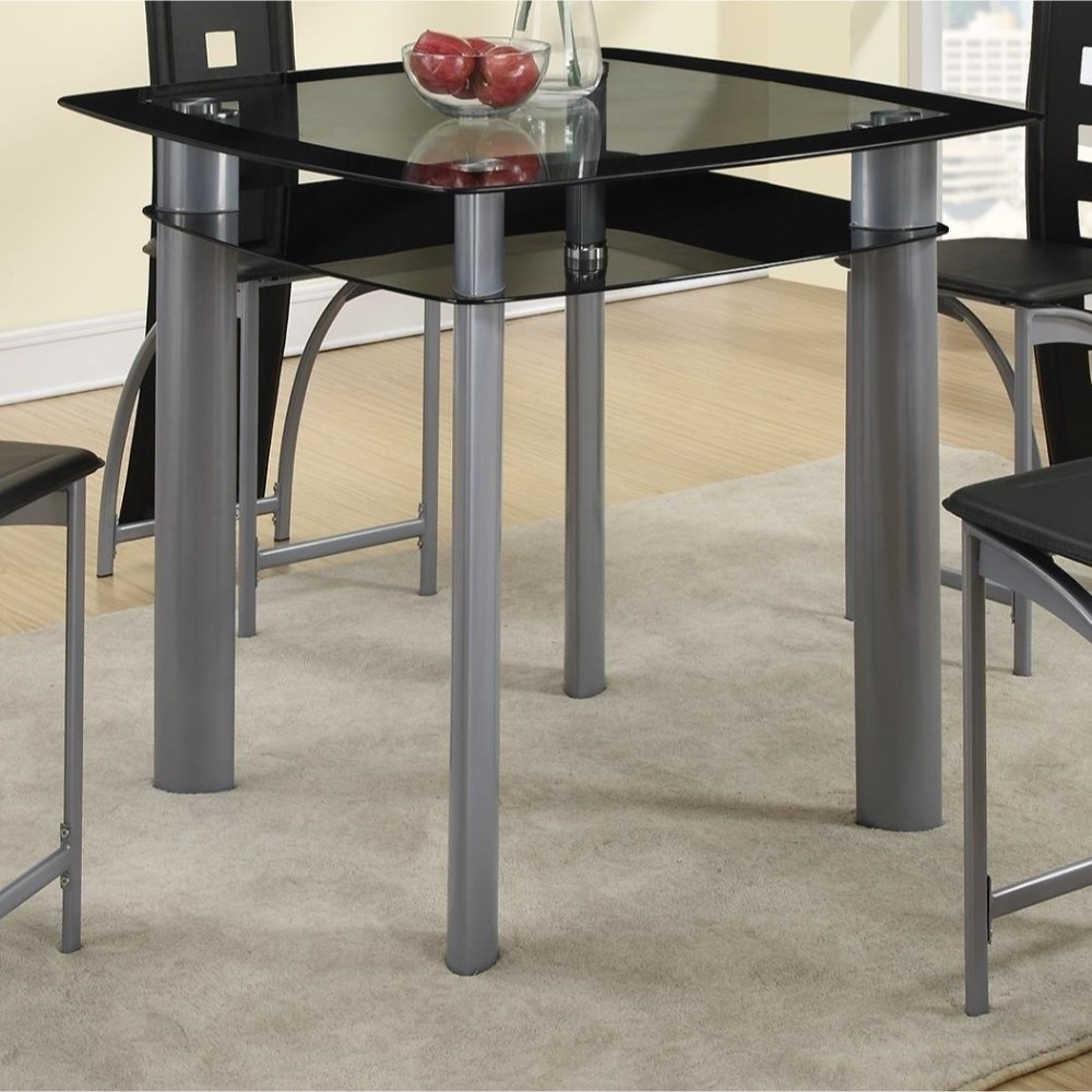 Benzara Square Glass Top Counter Height Dining Table With Metal Legs Black  And Silver