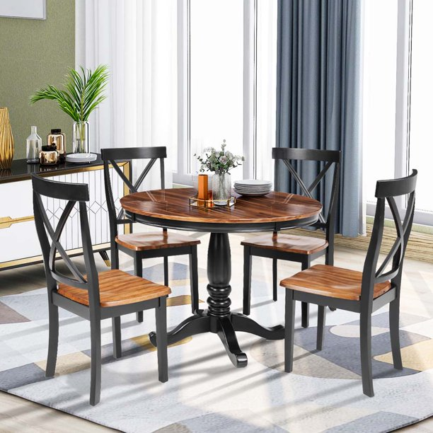 Round Dining Table and Chair Set, URHOMEPRO 5 Piece Kitchen