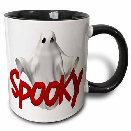 3dRose Halloween Spooky 3D Ghost - Two Tone Black Mug, 11-ounce