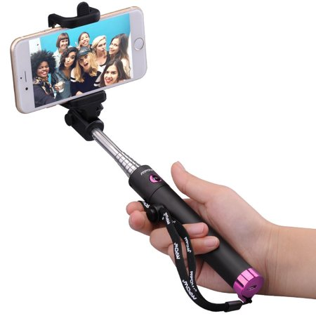 Mpow iSnap X One-piece U-Shape Self-portrait Extendable Selfie Stick with built-in Bluetooth Remote Shutter-Pink