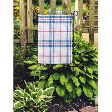 NUDECOR Blue Pattern Plaid Pink Country Bedclothes Breakfast Casual Check Checkered Garden Flag Decorative Flag House Banner 28x40 inch - image 2 de 2