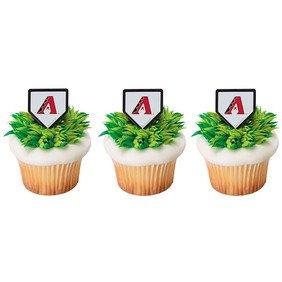 24 Arizona Diamondback Baseball Cupcake Cake Rings Party Favors Toppers