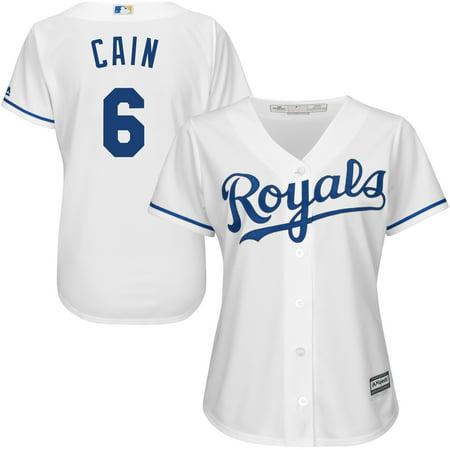 new style 54ebe 24a09 Lorenzo Cain Kansas City Royals Majestic Women's Cool Base Player Jersey -  White