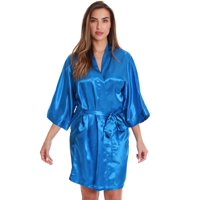 Just Love Womens Satin Solid Kimono Robe (1X, Navy)