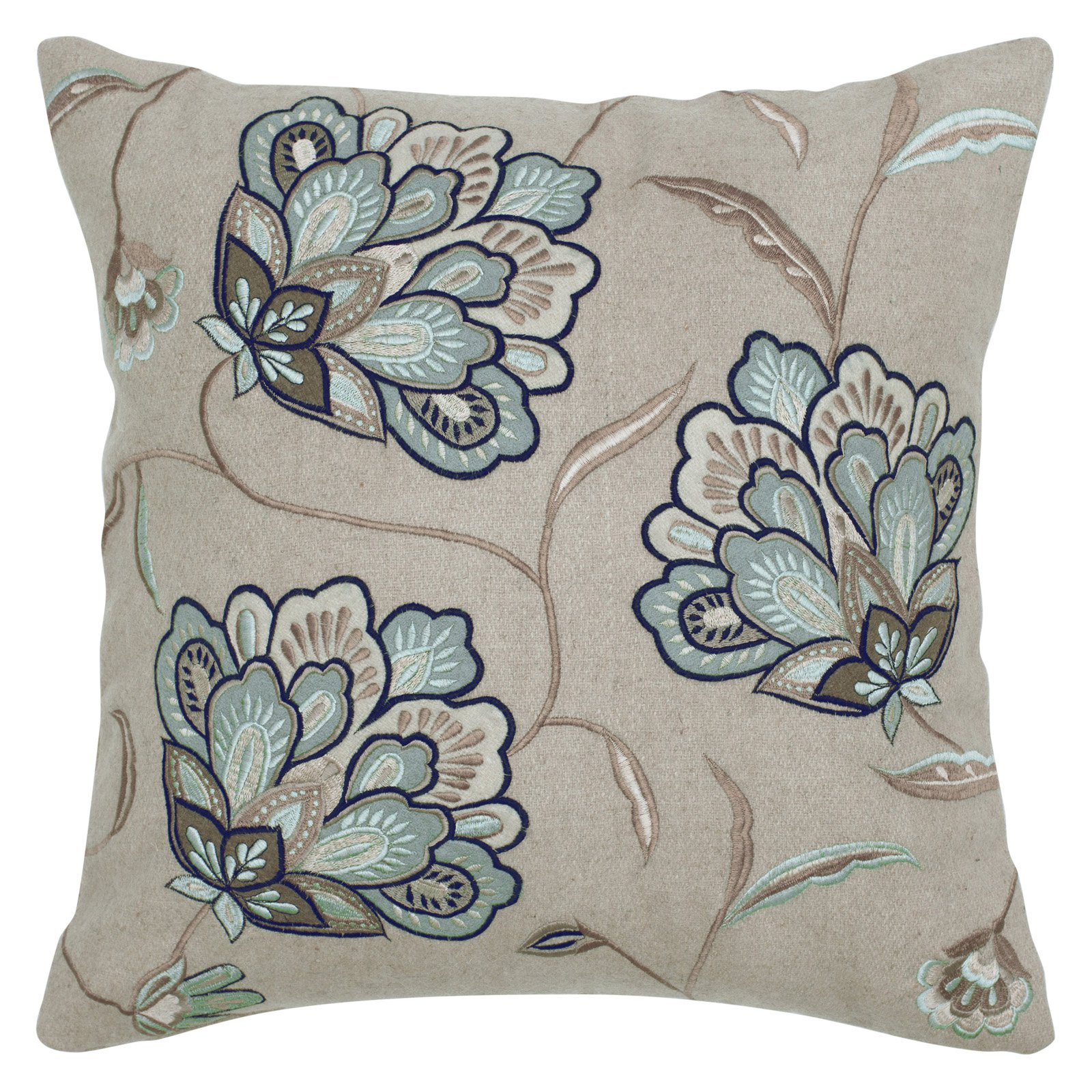 Multi Colored Floral Embroidery Beige Pillow T04272