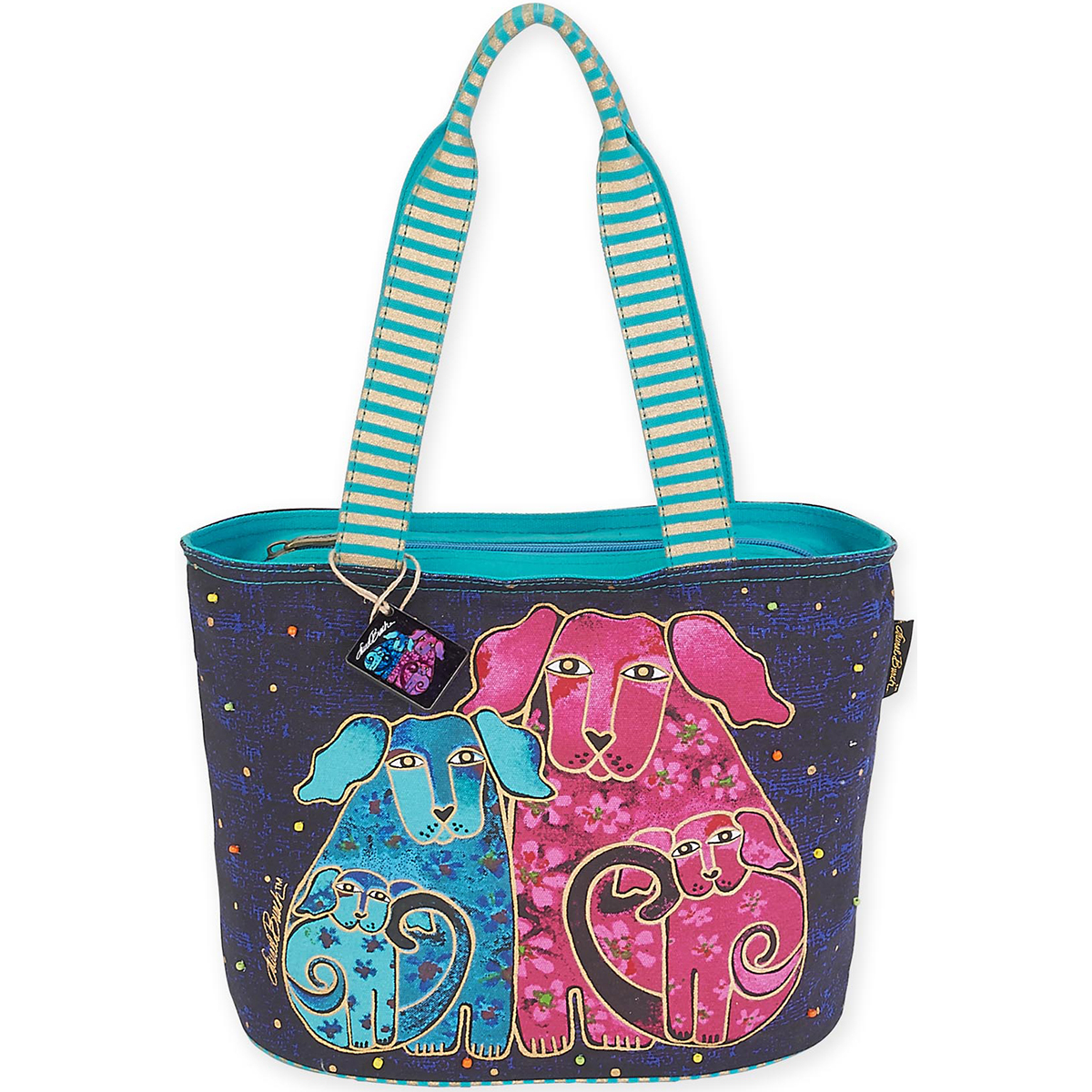 "Medium Tote 14""X6.25""X10""-Blossoming Pups"