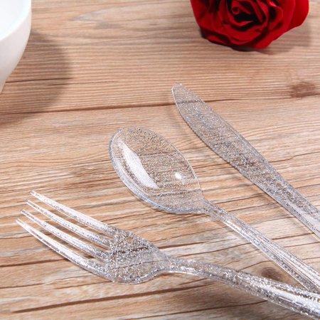 Zimtown 300 Pcs Plastic Silverware Set Disposable Party Plastic Flatware Plastic Forks](Silverware Plastic)