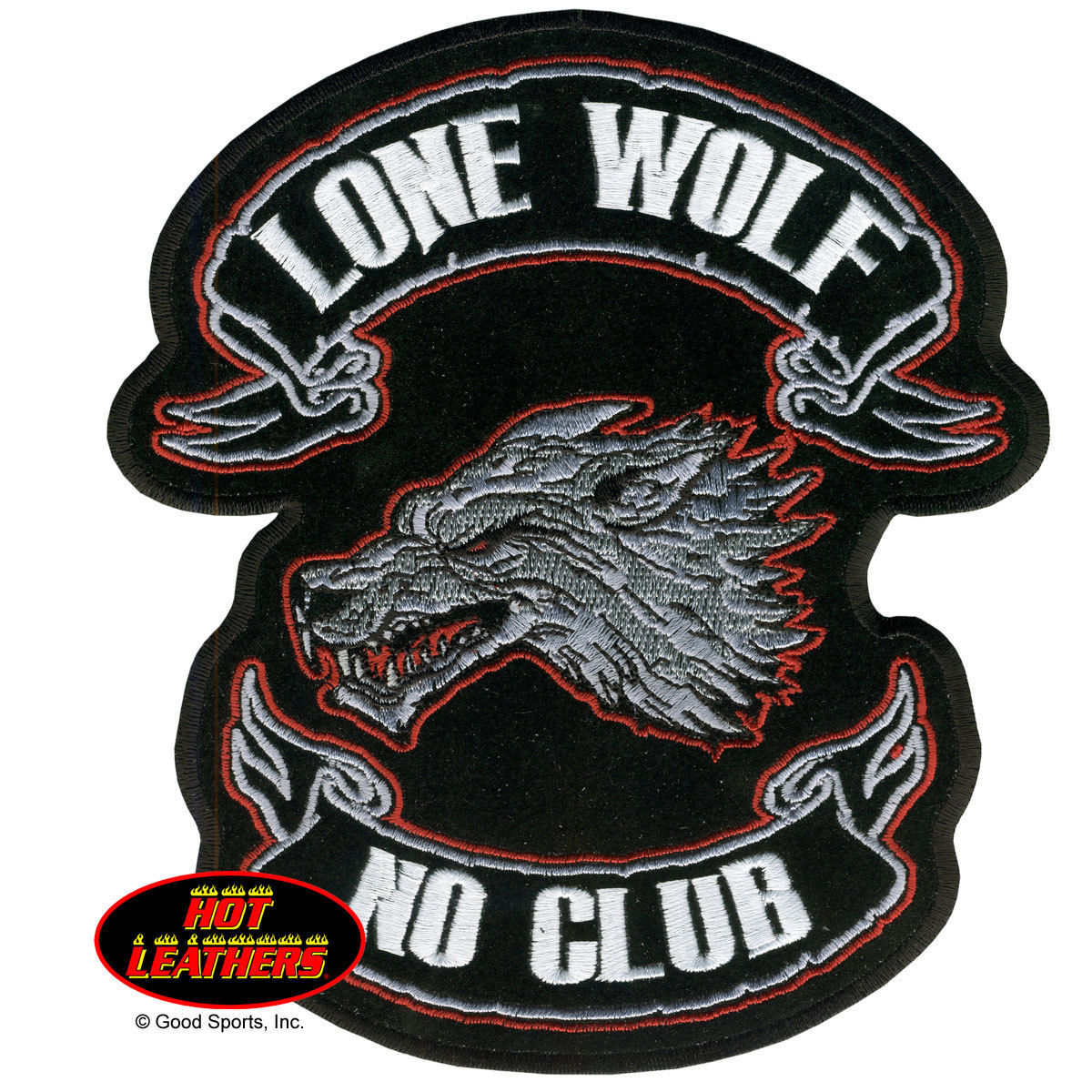 "Lone Wolf, No Club, Iron-on / Saw-on Rayon PATCH - 13"" X 15"", Exceptional Quality"