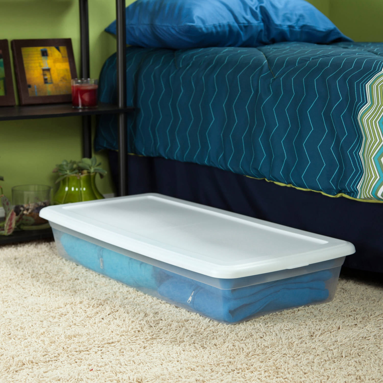 plastic 41 quart storage box long shallow set of 6 sterilite white new ebay. Black Bedroom Furniture Sets. Home Design Ideas