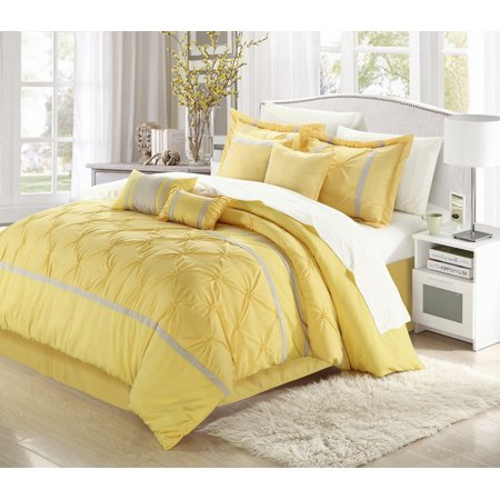 Yellow Comforter - Vermont Yellow & Grey 8 Piece Embroidered Comforter Bed In A Bag Set