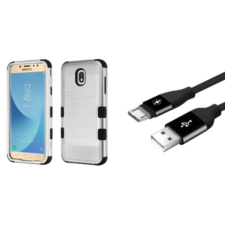 TUFF Hybrid Military Grade Metallic Brushed Slate Finish Phone Protector Case (Silver/Black) with Durable 5000+ Bend Lifespan Micro USB Cable (3 feet) and Atom Cloth for Samsung Galaxy J7 (2018) - Seat Durable