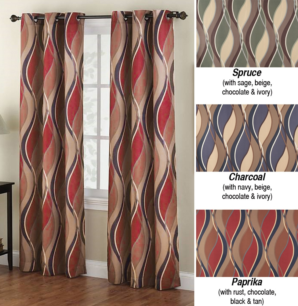 Intersect Wave Room Darkening Window Curtain Panel With Hanging Grommets 48 X 63 Charcoal
