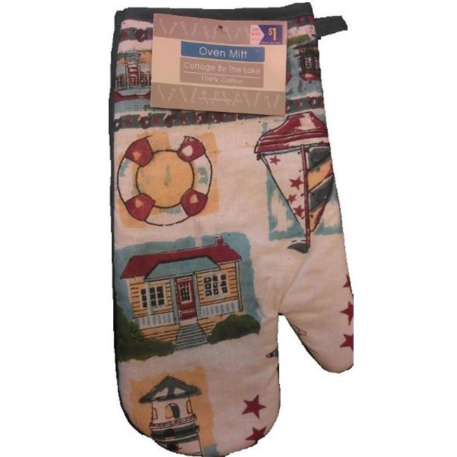 Bulk Buys Printed inch Cottage by the Lake inch Oven Mitt - Case of 72