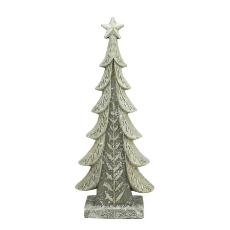 "17.5"" Vintage Inspired Distressed Cream and Taupe Christmas Tree Table Top Decoration"