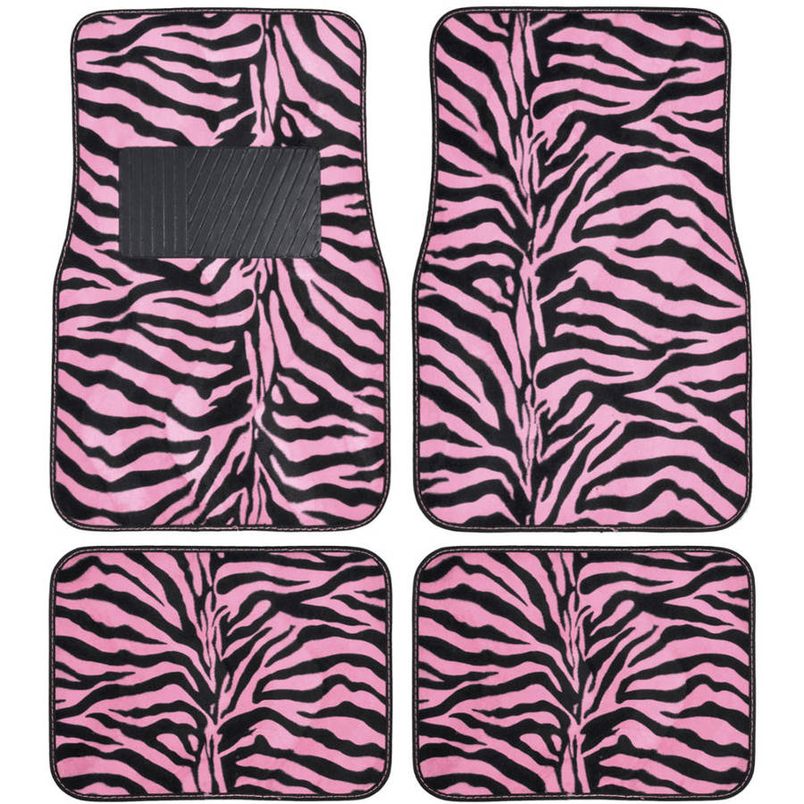 BDK Zebra Car Floor Mats, Animal Prints Mat, 4 Pieces, Pink