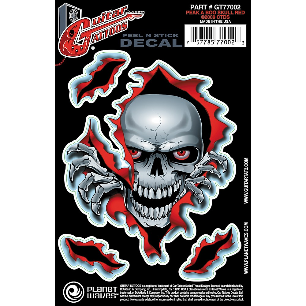D'Addario Planet Waves Guitar Tattoo Decal Peek a Boo Skull