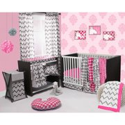 Bacati - Ikat 6-Piece Crib Bedding Set with four 100% Cotton Muslin Swaddling Blankets, Pink/Grey