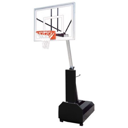 Navy Blue Team Ball - First Team Fury Turbo Steel-Glass Portable Basketball System44; Navy Blue