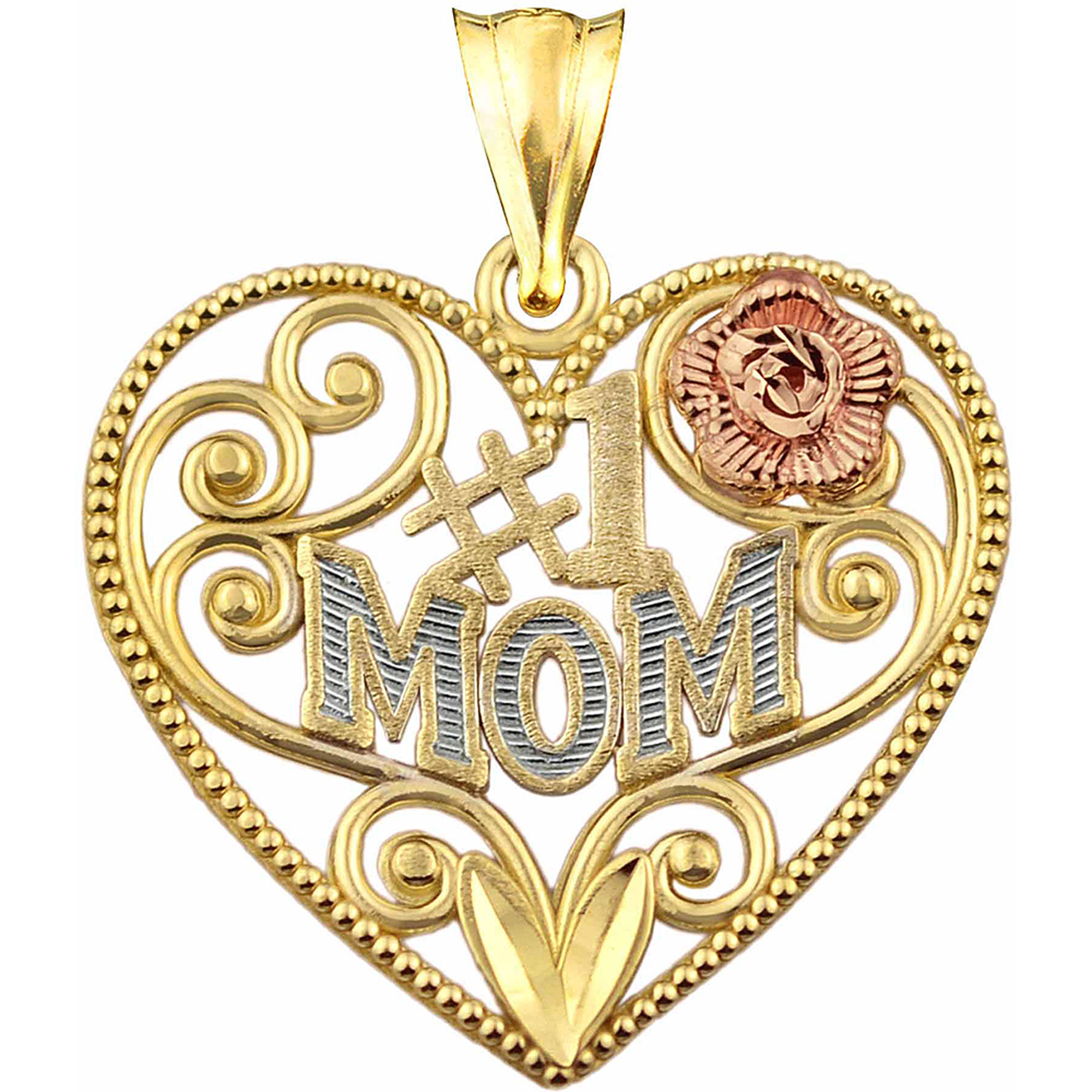 US GOLD 10kt Gold #1 Mom Heart Charm Pendant