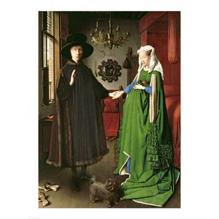 The Portrait of Giovanni Arnolfini and his Wife Giovanna Cenami Stretched Canvas - Jan Van Eyck (18 x (Giovanni Arnolfini And His Wife Giovanna Cenami)