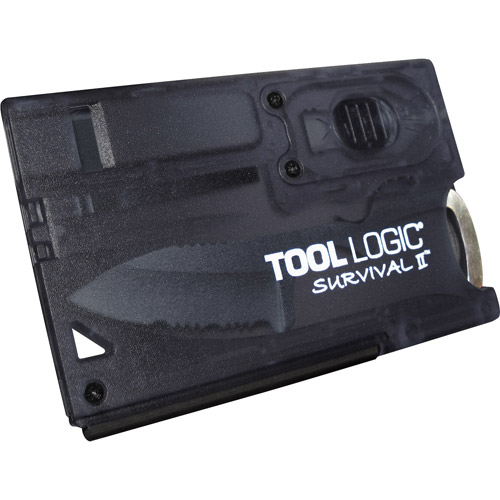 Tool Logic Survival Card with Fire Starter and Light, Charcoal