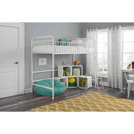 Better Homes and Gardens Kelsey Twin Metal Loft Bed, Multiple Colors with Spa Sensations 6'' Memory Foam Mattress