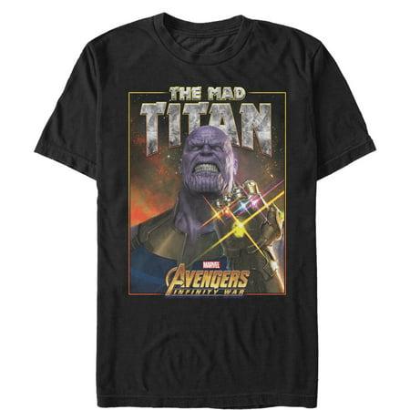 Marvel Mens Avengers  Infinity War Mad Titan Thanos T Shirt