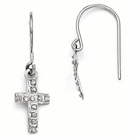 14kt White Gold Diamond Fascination Cross Religious Drop Dangle Chandelier Earrings Fine Jewelry Ideal Gifts For Women Gift Set From Heart