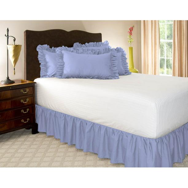 "Wrap Around Elastic Velvet Bed Skirt 18/"" Drop for 14/"" height Mattress Bedding"