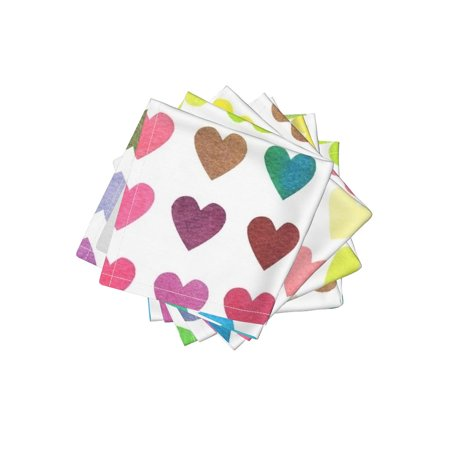 Cocktail Napkins Rainbow Hearts Valentine Love Is Love Colorful Set of 4 - Valentine Cocktail