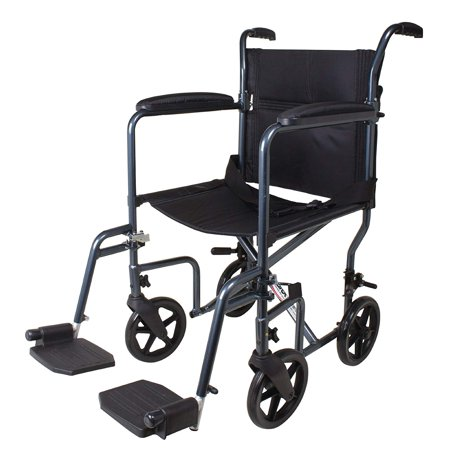 Carex Transport Wheelchair, Lightweight Transport Chair With 8 Inch Oversized Wheels and 19 Inch