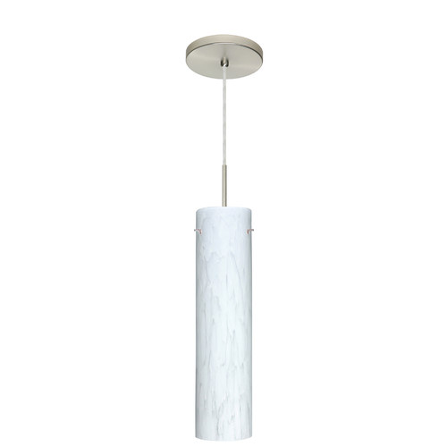 Besa Lighting 1JT-722419-SN Single Light Incandescent Pendant with Satin Nickel Metal Finish from the Stilo, Carrera
