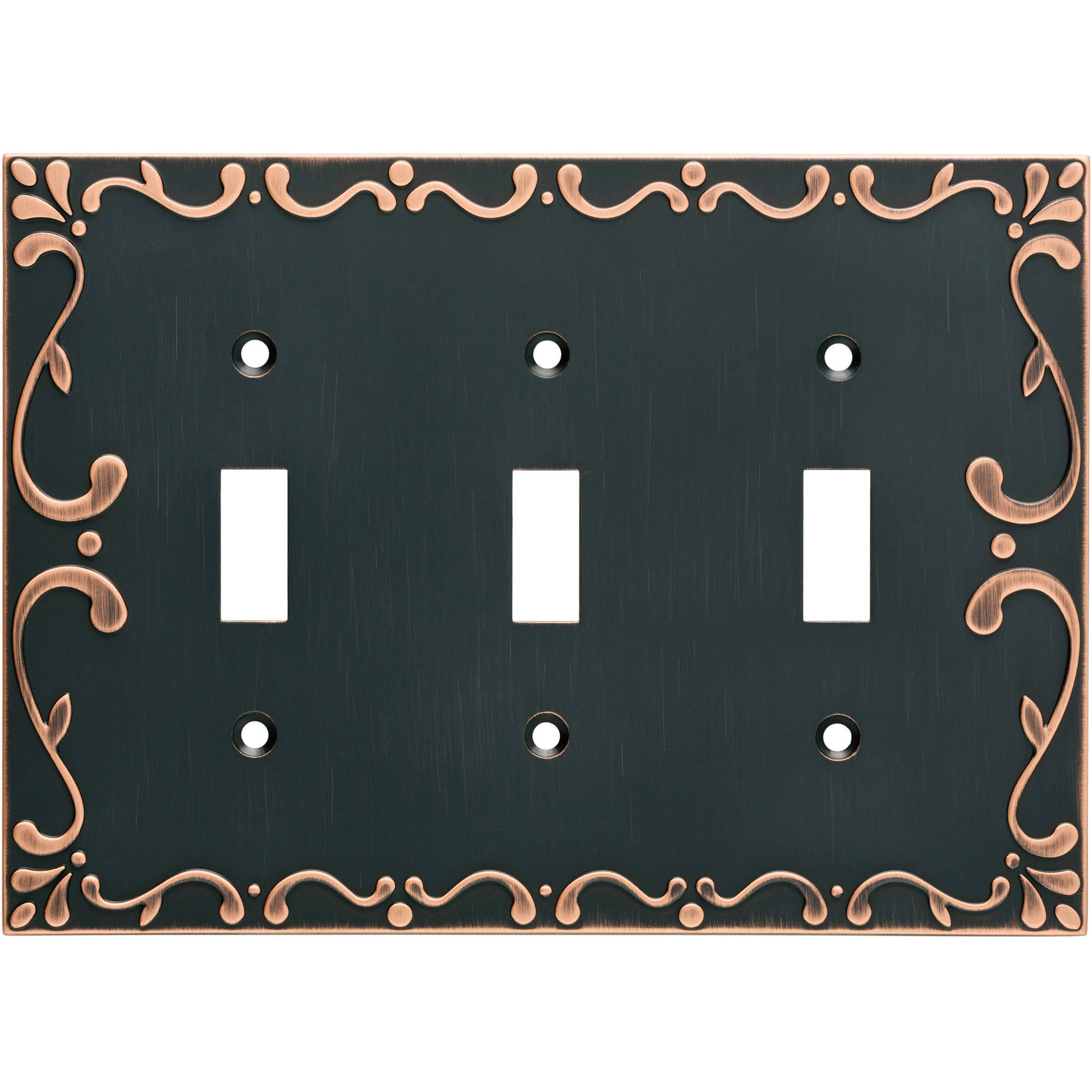 Franklin Brass Classic Lace Triple Switch Wall Plate in Bronze with Copper Highlights