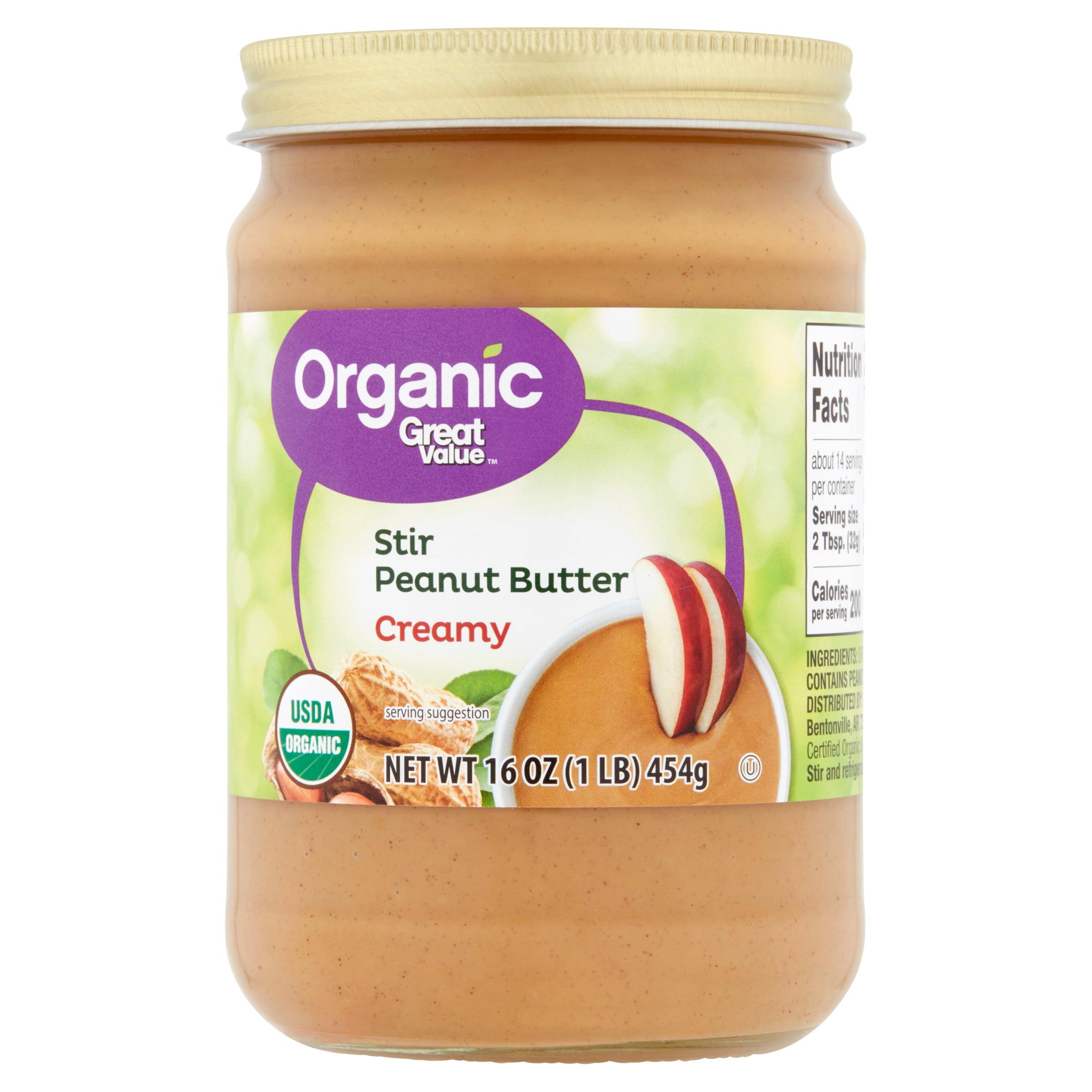Great Value Organic Creamy Stir Peanut Butter, 16 oz