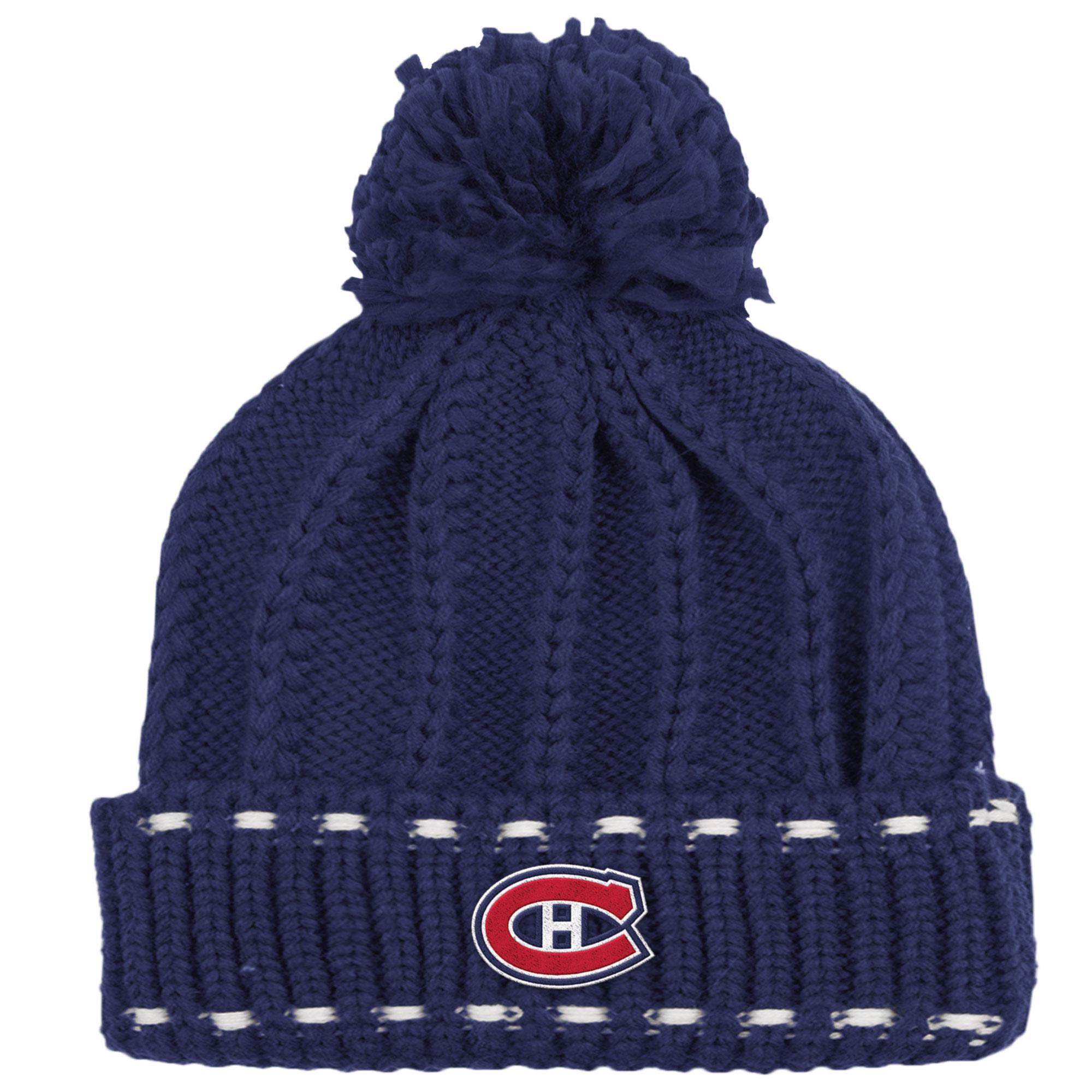 Montreal Canadiens Reebok Women's Cuffed Pom Knit Hat - Navy - OSFA