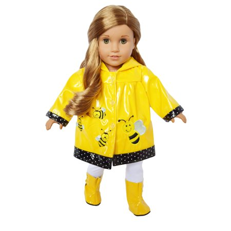 My Brittany's Bumble Bee Raincoat for American Girl and My Life as Dolls- 18 Inch Doll Raincoat (Bumble Bee Tutu)