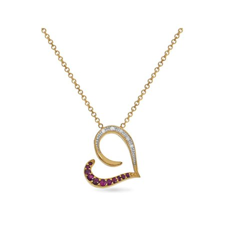 Eternal Heart 14KT Yellow Gold Diamond And Ruby Sideways Heart Necklace 18