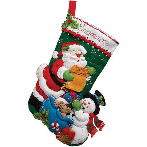 "Bucilla Santa's List Stocking Felt Applique Kit, 18"" Long"