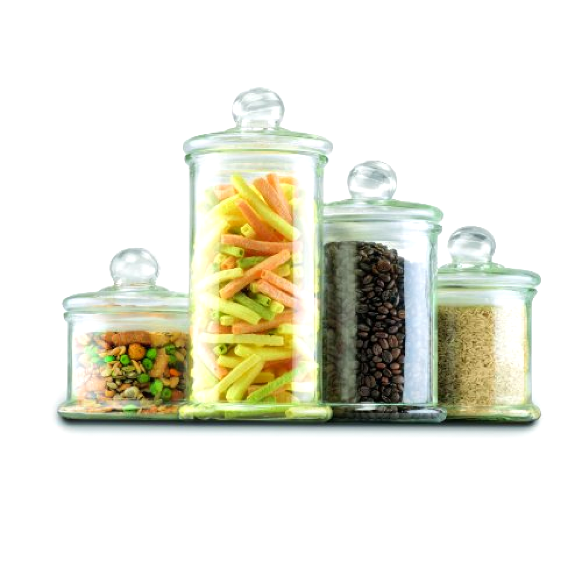 4 Piece Glass Canister Set with Lids - 4 Sizes 58oz-46oz-27oz-21oz - Free Ship