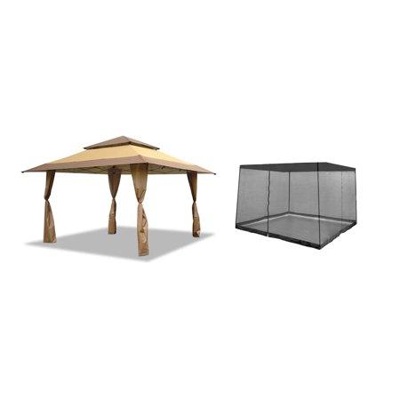 Z-Shade 13 x 13 Foot Instant Gazebo Canopy Outdoor Shelter & Gazebo Bug Screen -  ZSB13GAZTB-PB + ZS13SRGAZVM