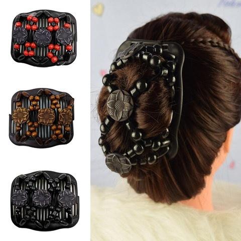 Women Elastic Magic Hair Combs Black Beaded Double Hair Clips Accessories