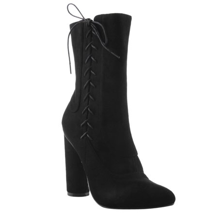 FF13 Women's Side Lace Up Block Round Heel Mid Calf Boots