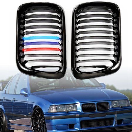 For BMW E36 M3 3 Series 1997 1998 1999 2Pcs Front Bumper Gloss Black M-Color Kidney Grill Grille Grilles