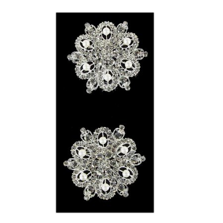 Floral with Pearls Rhinestone Crystal Brooches, Silver, 2-1/2-Inch, 2-Piece