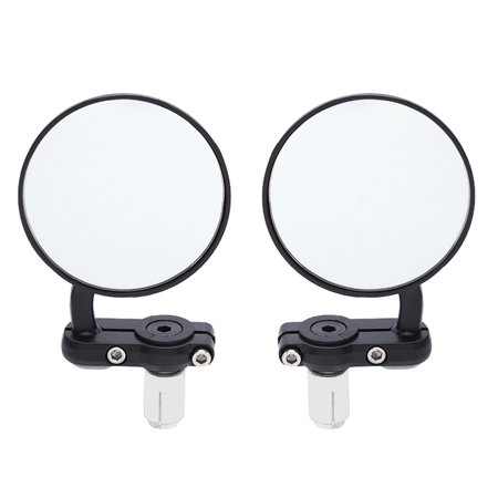 Universal Motorcycle Aluminum Black Handle Bar End Rearview Side Mirrors