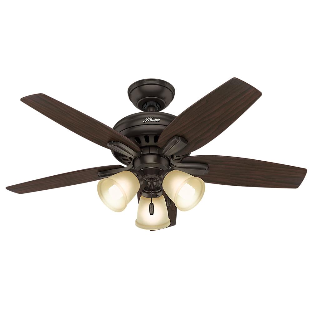 "Hunter 42"" Newsome Premier Bronze Ceiling Fan with Light"
