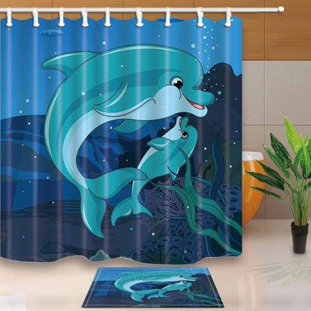 RYLABLUE Children Love Decor Mother and Son Dolphins Swimming in Ocean for Kids Shower Curtain 66x72 inches with Floor Doormat Bath Rugs 15.7x23.6 inches - image 1 de 1