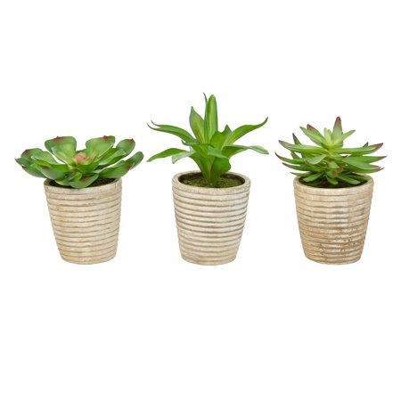 Pure Garden Faux Succulents – Assorted Lifelike Plastic Greenery Arrangements in Decorative Vases (Set of 3) ()
