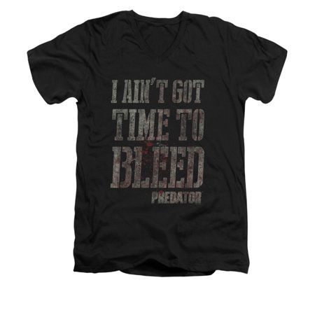Predator Sci-Fi Thriller Film I Ain't Got Time To Bleed Adult V-Neck T-Shirt (Ain T Nobody Got Time For That Memes)